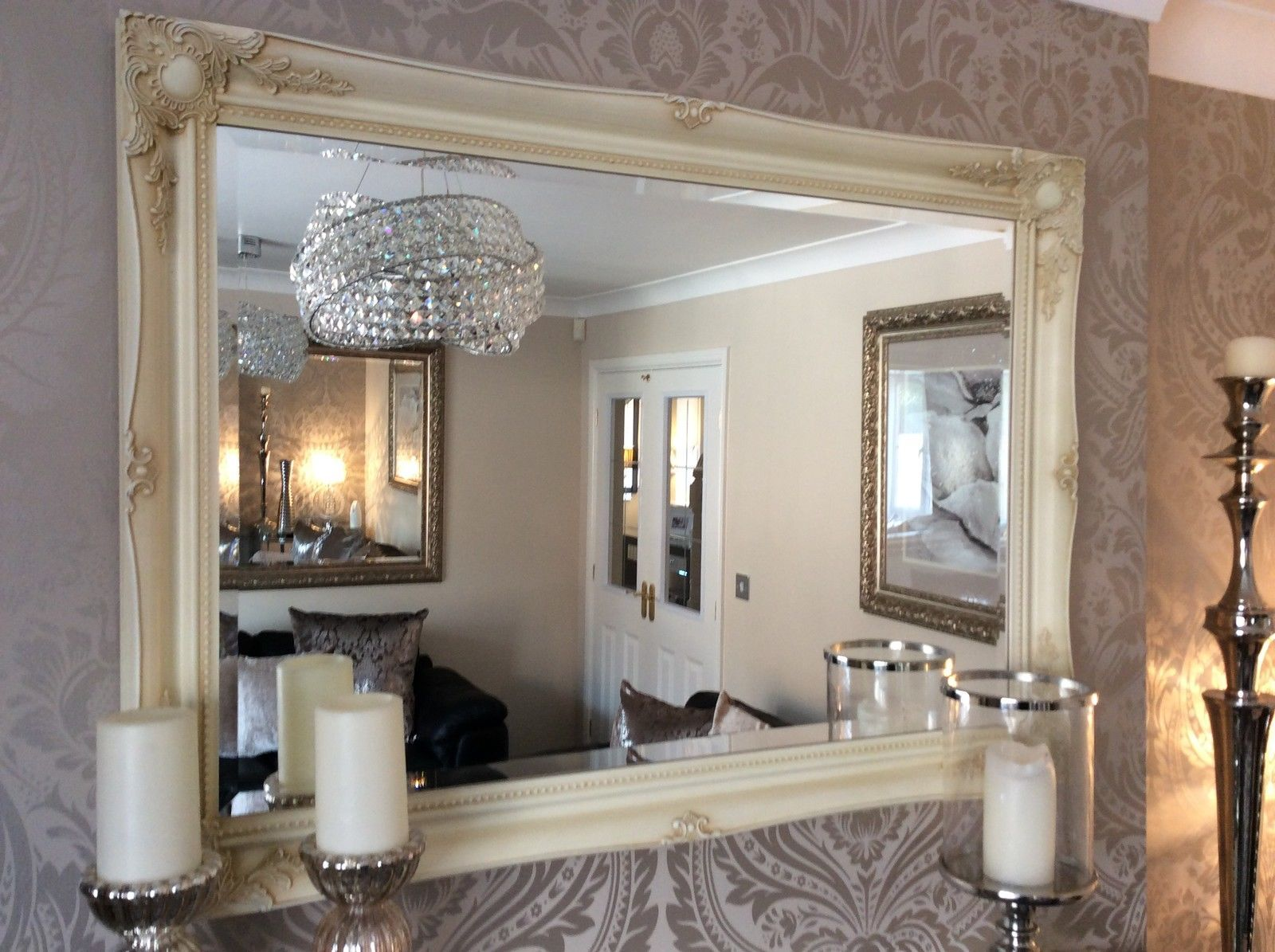 Cream ivory mirrors fabulous large cream decorative stunning shabby chic wall mirror free pp amipublicfo Images
