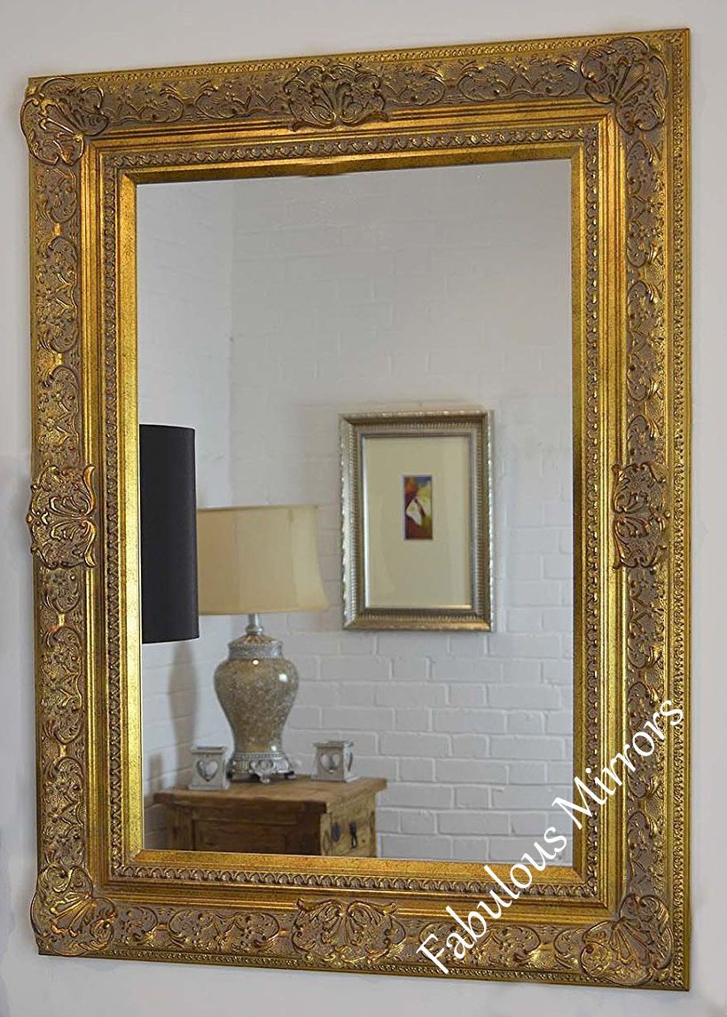 Decorative antique gold wall mirror full range of sizes for Unique wall frames