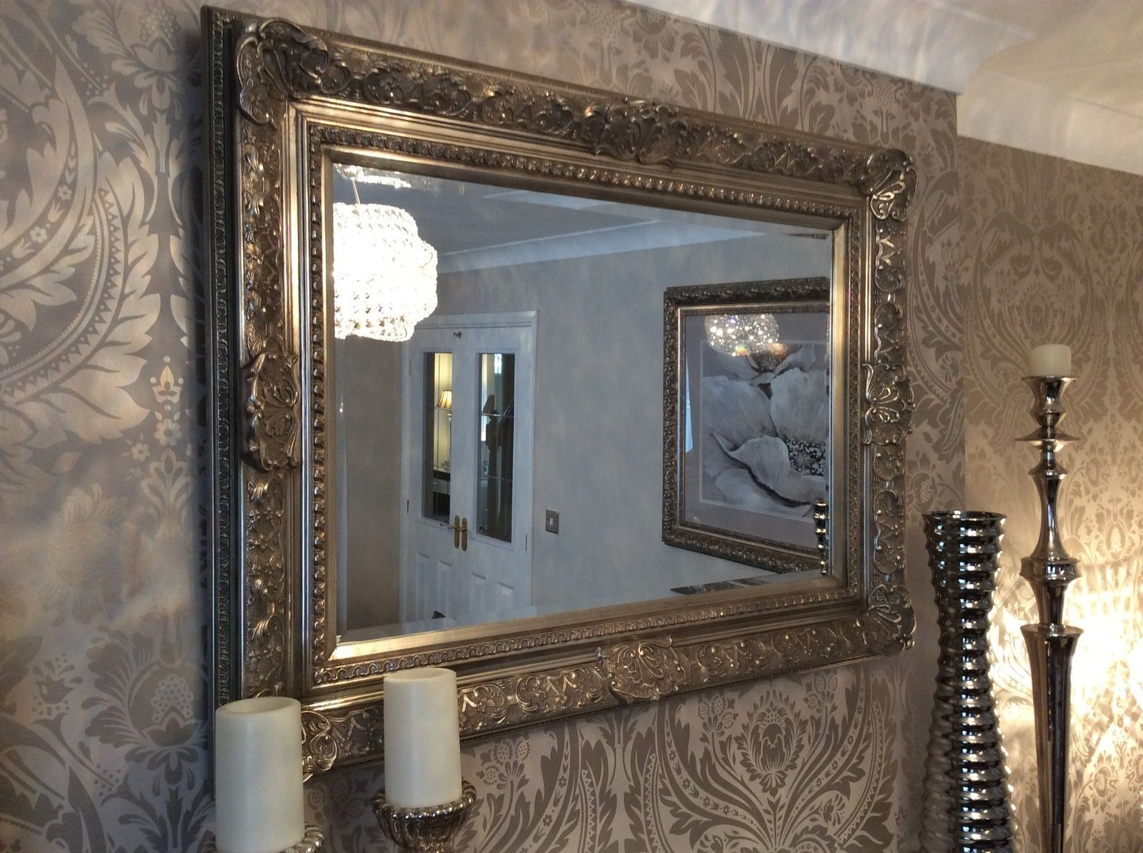 Decorative antique silver wall mirror full range of for Full wall mirrors