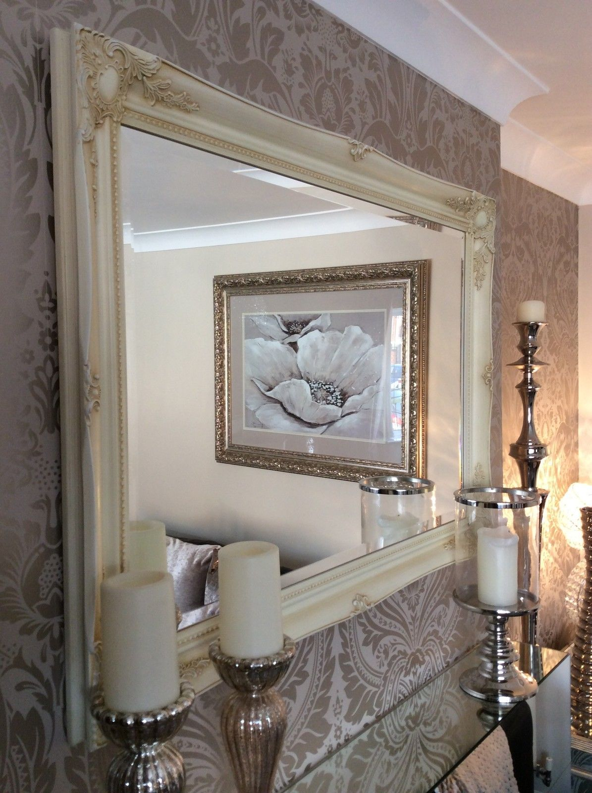 Fabulous large cream decorative stunning shabby chic wall for Large fancy mirrors