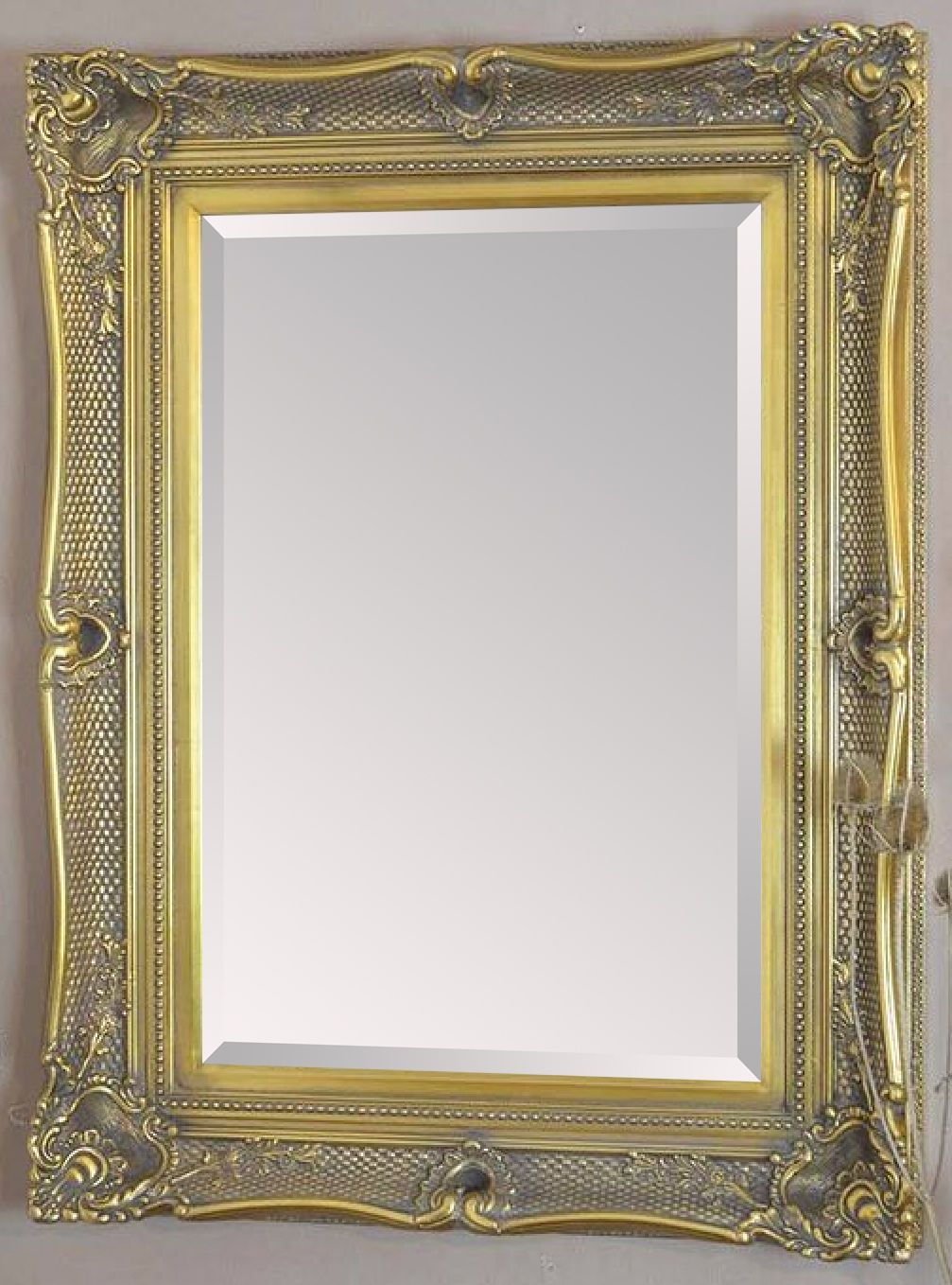 Huge antique gold decorative mirror save s other sizes for Unique mirror frames