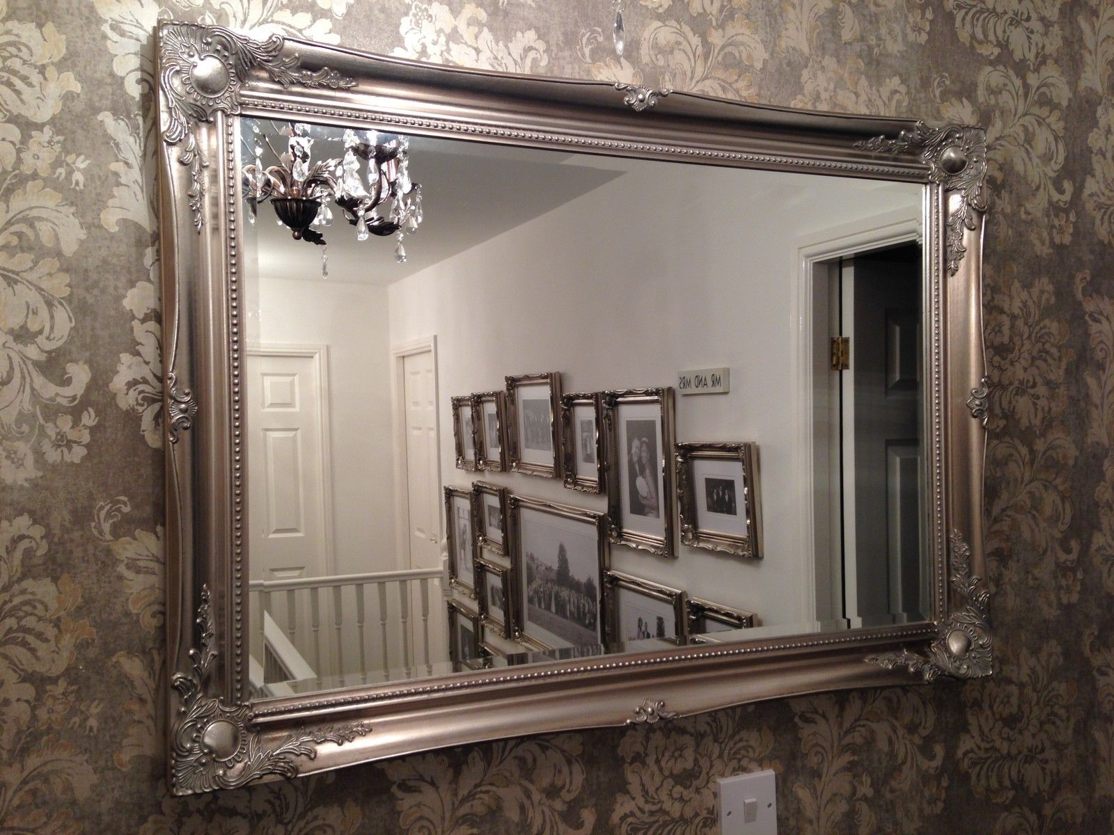 Large antique silver elegant wall mirror free uk postage for Large silver wall mirror
