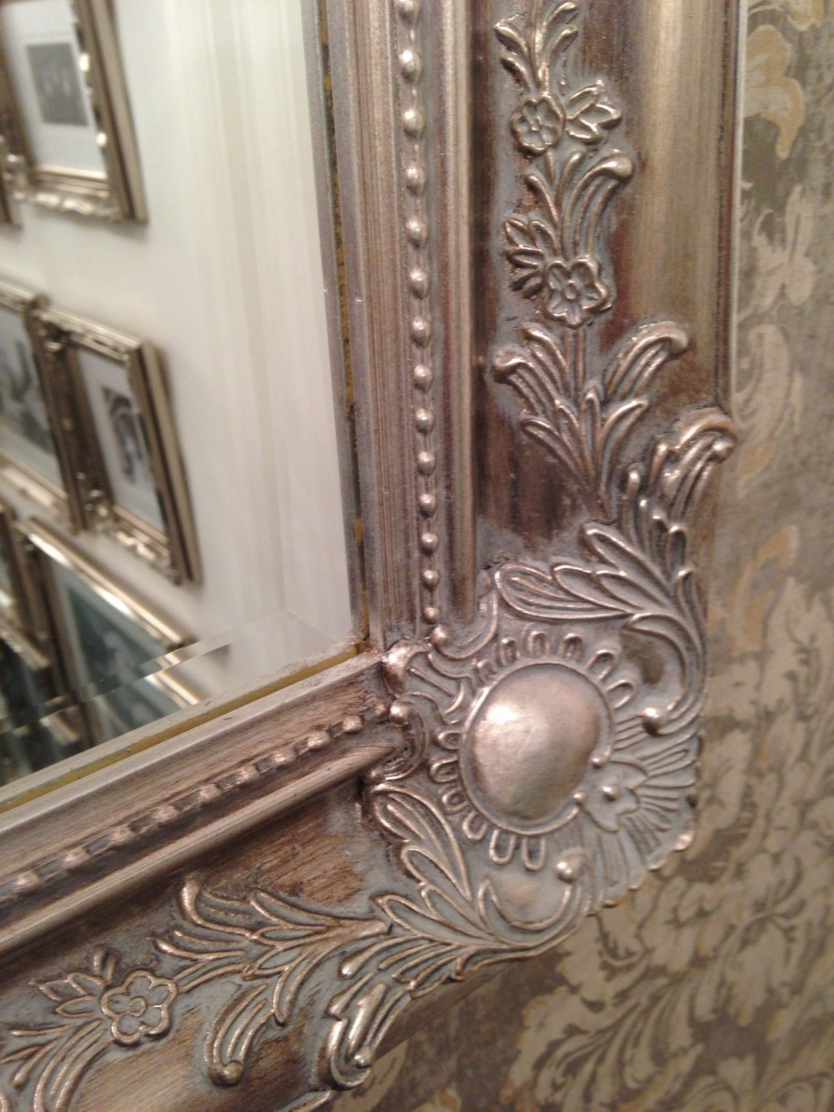 Large antique silver shabby chic ornate decorative over for Large silver decorative mirrors