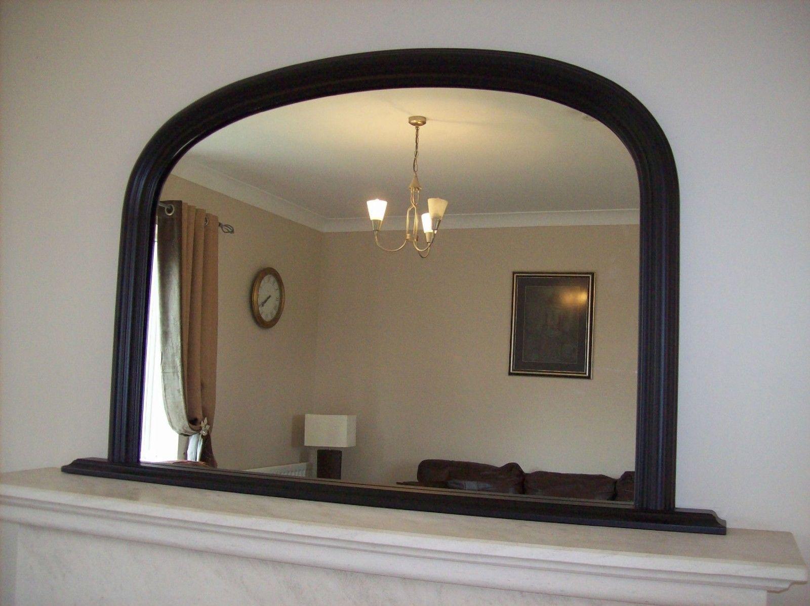 Large Black Arched Over Mantle Mirror 47x31 120cm X 79cm