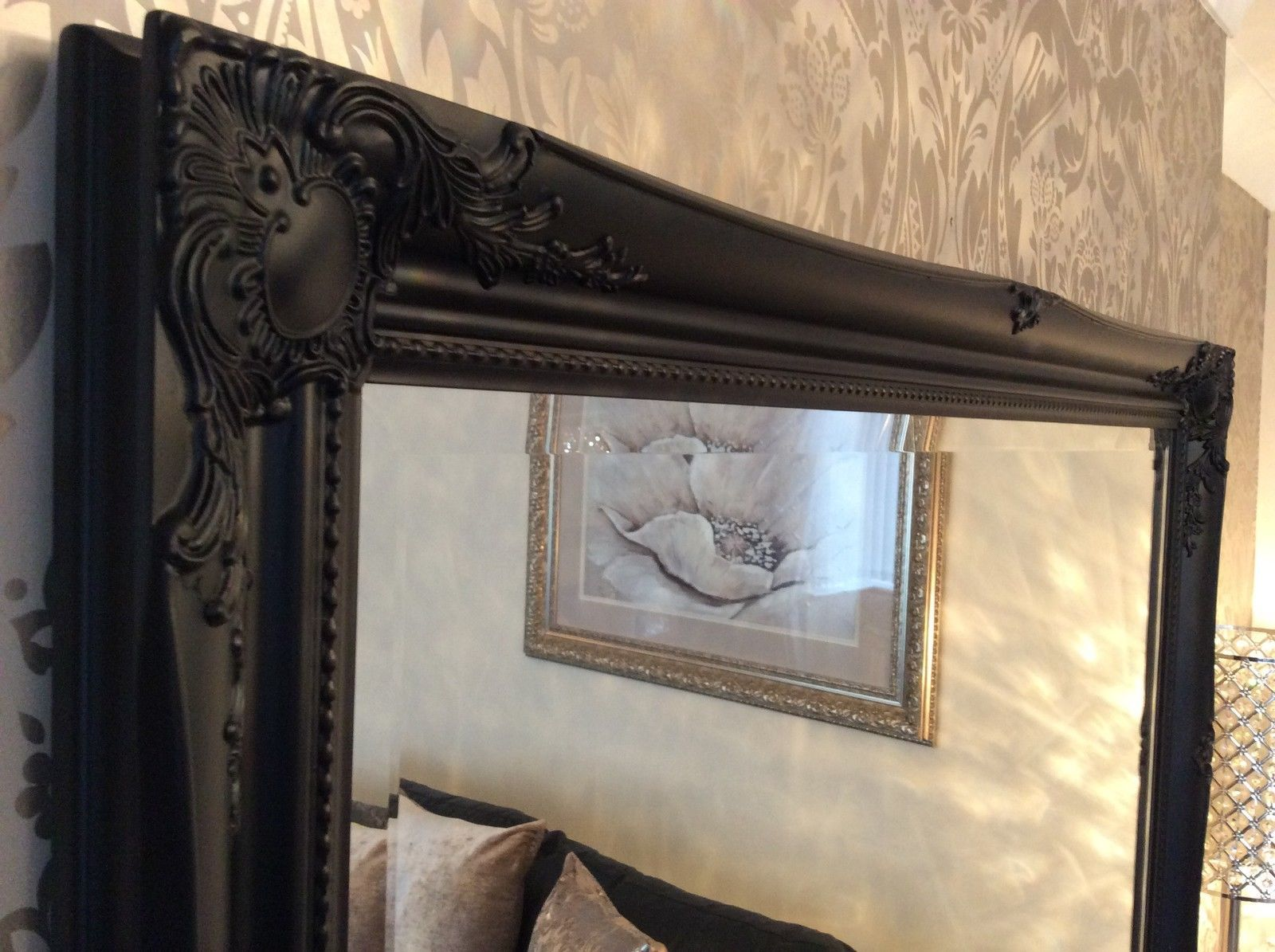 Large black shabby chic framed ornate overmantle wall for Big black wall mirror