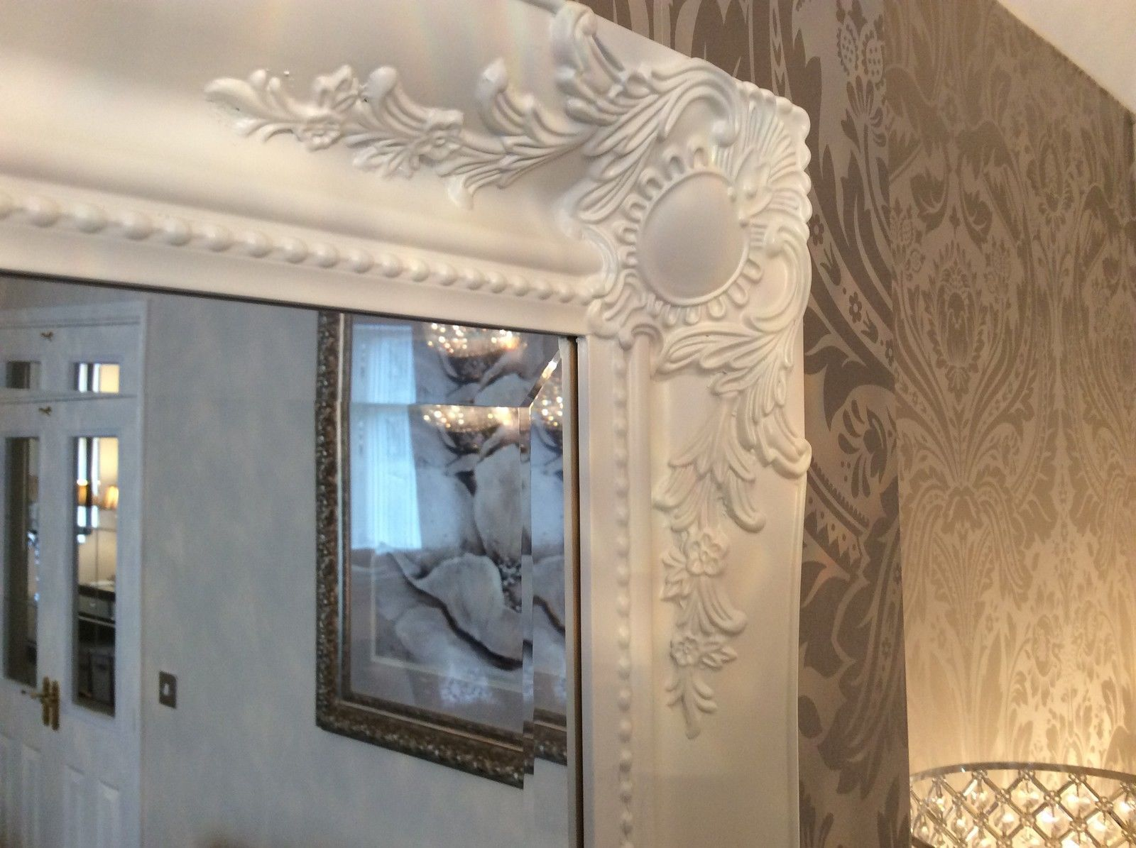 Large french white shabby chic ornate decorative over for Large white framed wall mirror