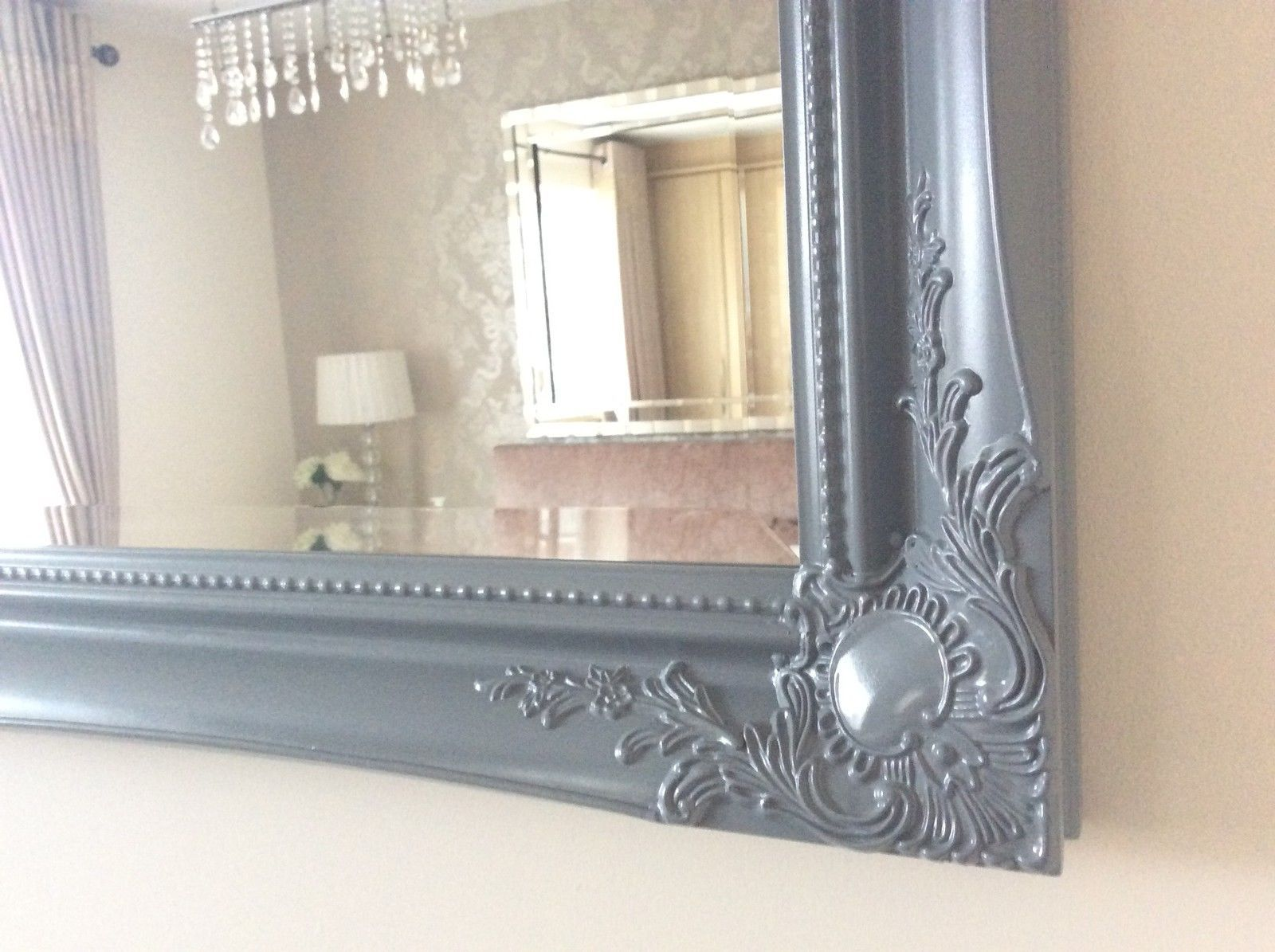 Large grey shabby chic ornate decorative wall mirror free for Long grey wall mirror