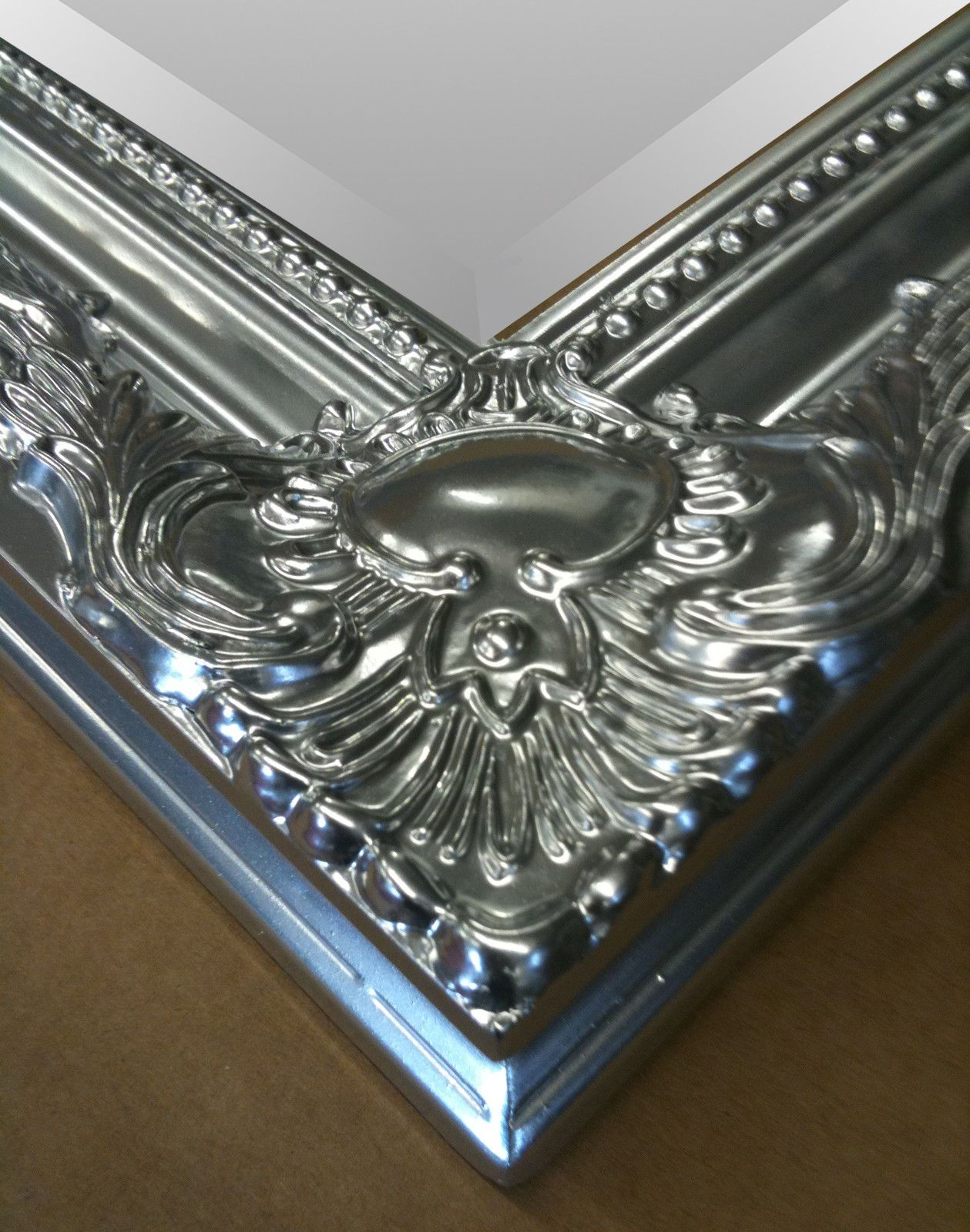 Large metallic silver shabby chic ornate decorative over for Large silver decorative mirrors
