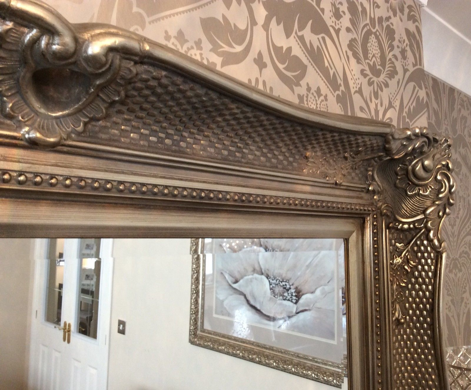 Large silver decorative mirror save s insured in transit for Big silver mirror