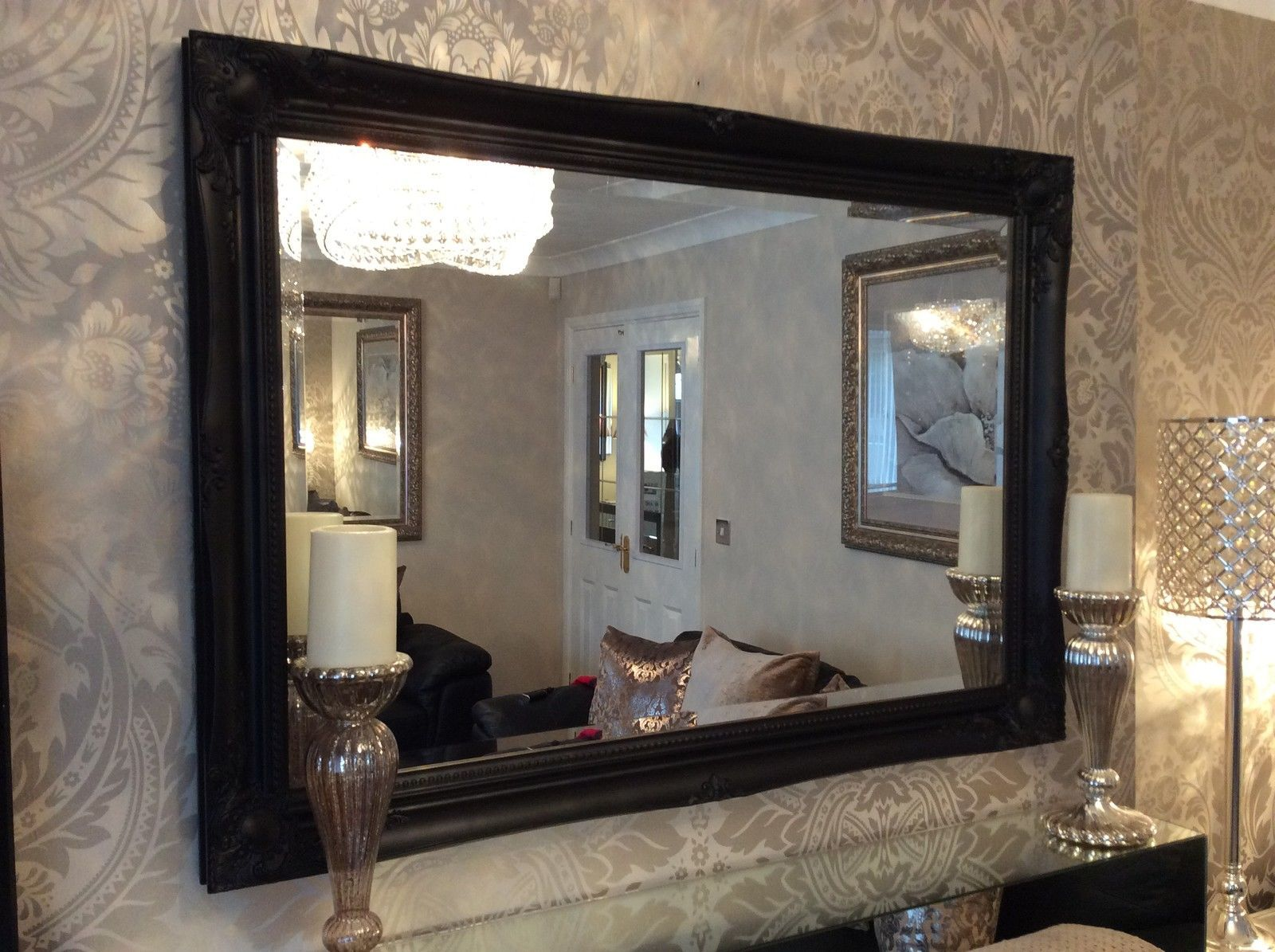 New large black shabby chic bevelled wall mirror 36inch for Big black wall mirror