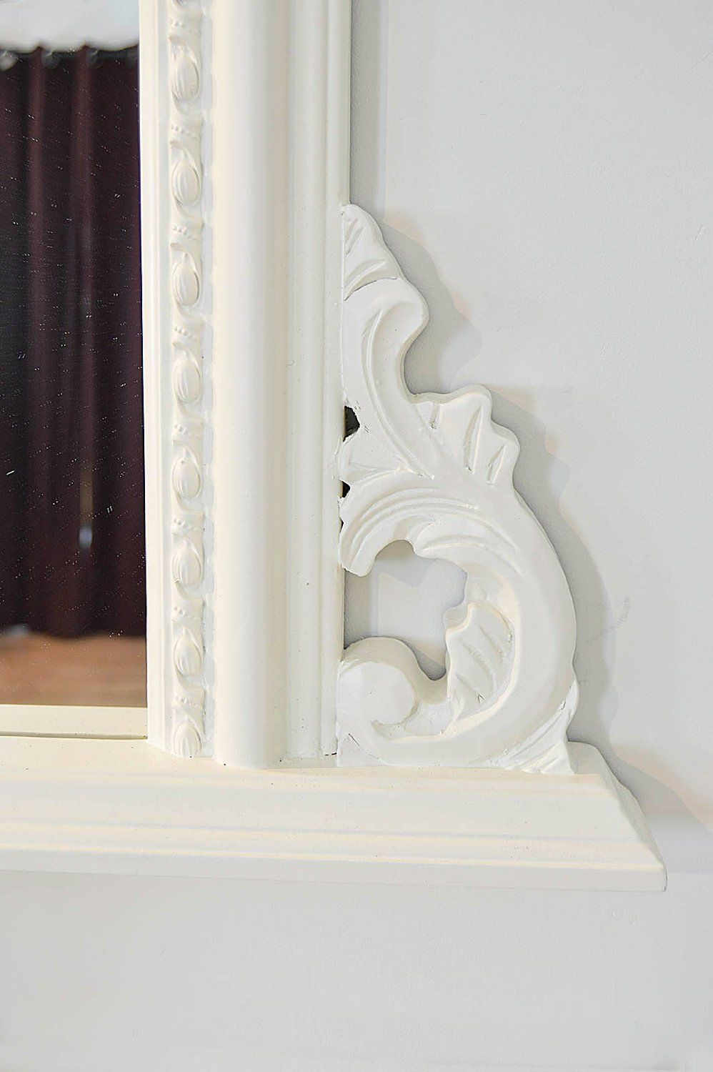 White arched top decorative ornate mirror large 50x36 for Fancy white mirror