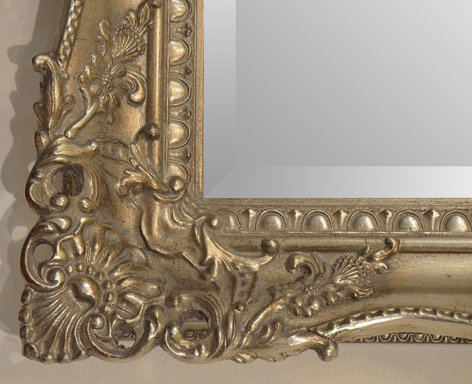 X large bright metallic silver ornate decorative wall for Large silver wall mirror