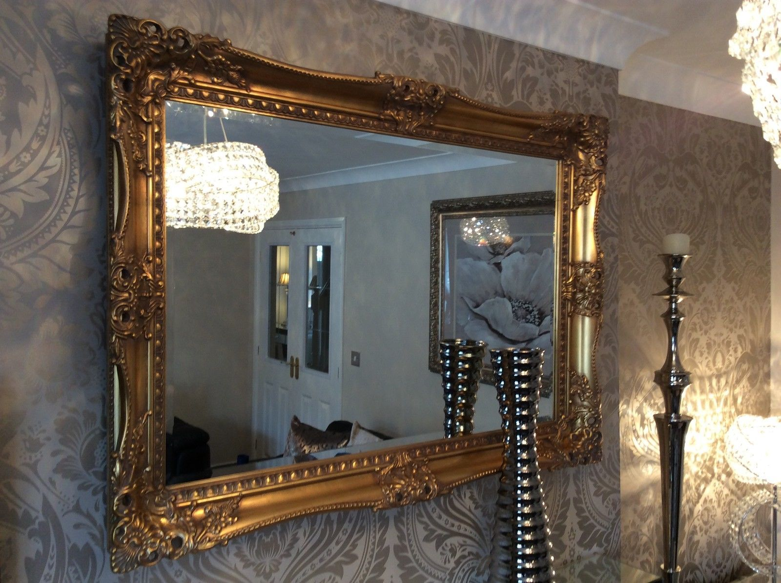 X large bright metallic silver ornate decorative wall for Large framed mirrors for walls