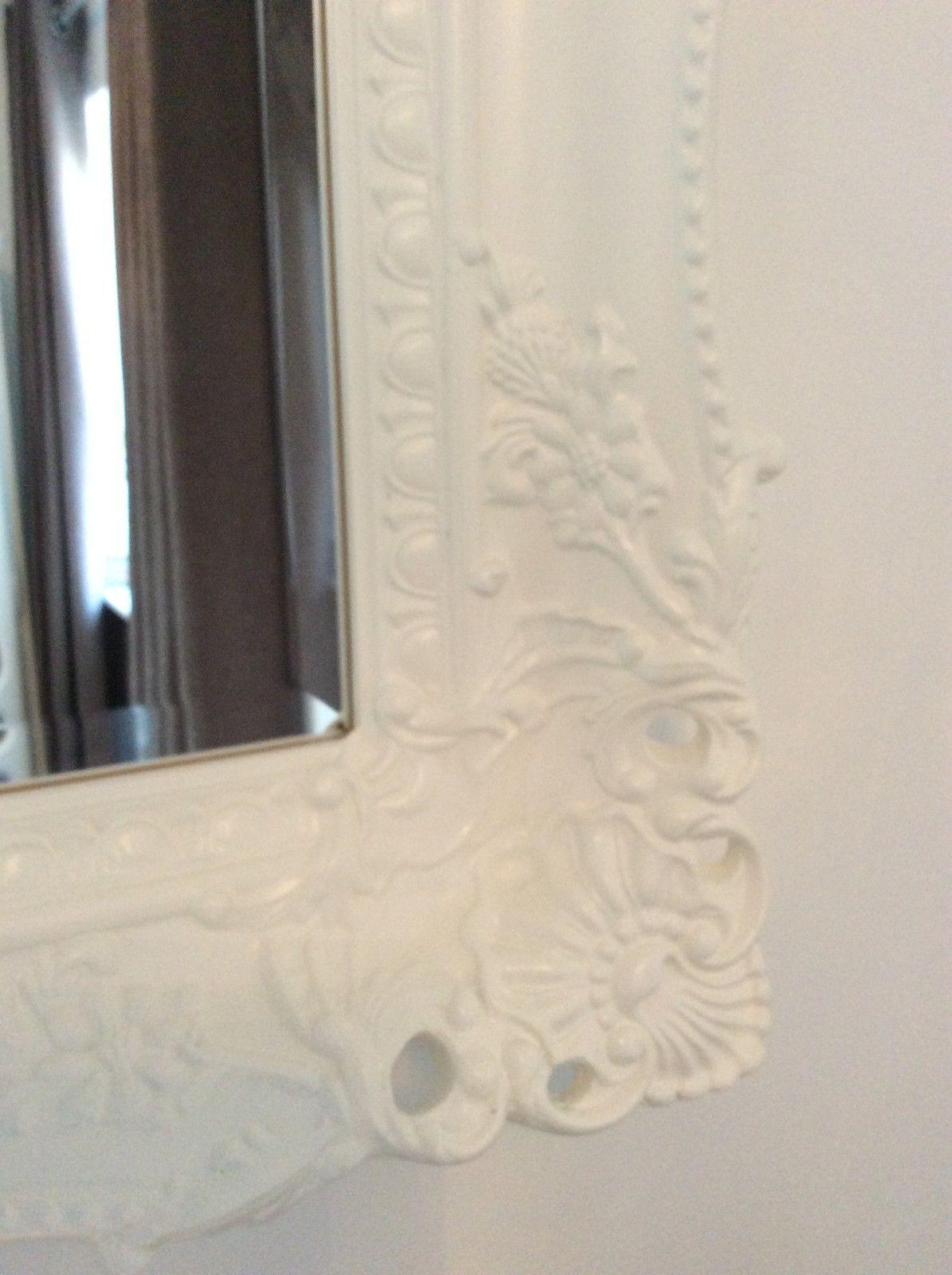 X large white shabby chic ornate decorative wall mirror for Large white decorative mirror