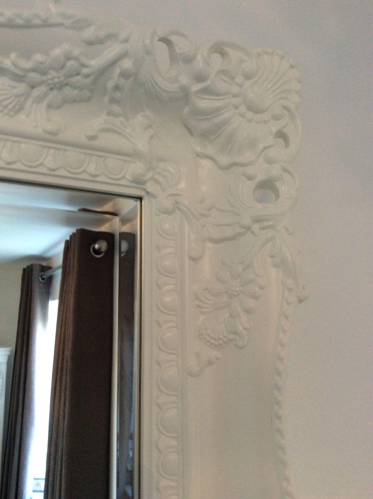 X large white shabby chic ornate decorative wall mirror for Large white framed wall mirror
