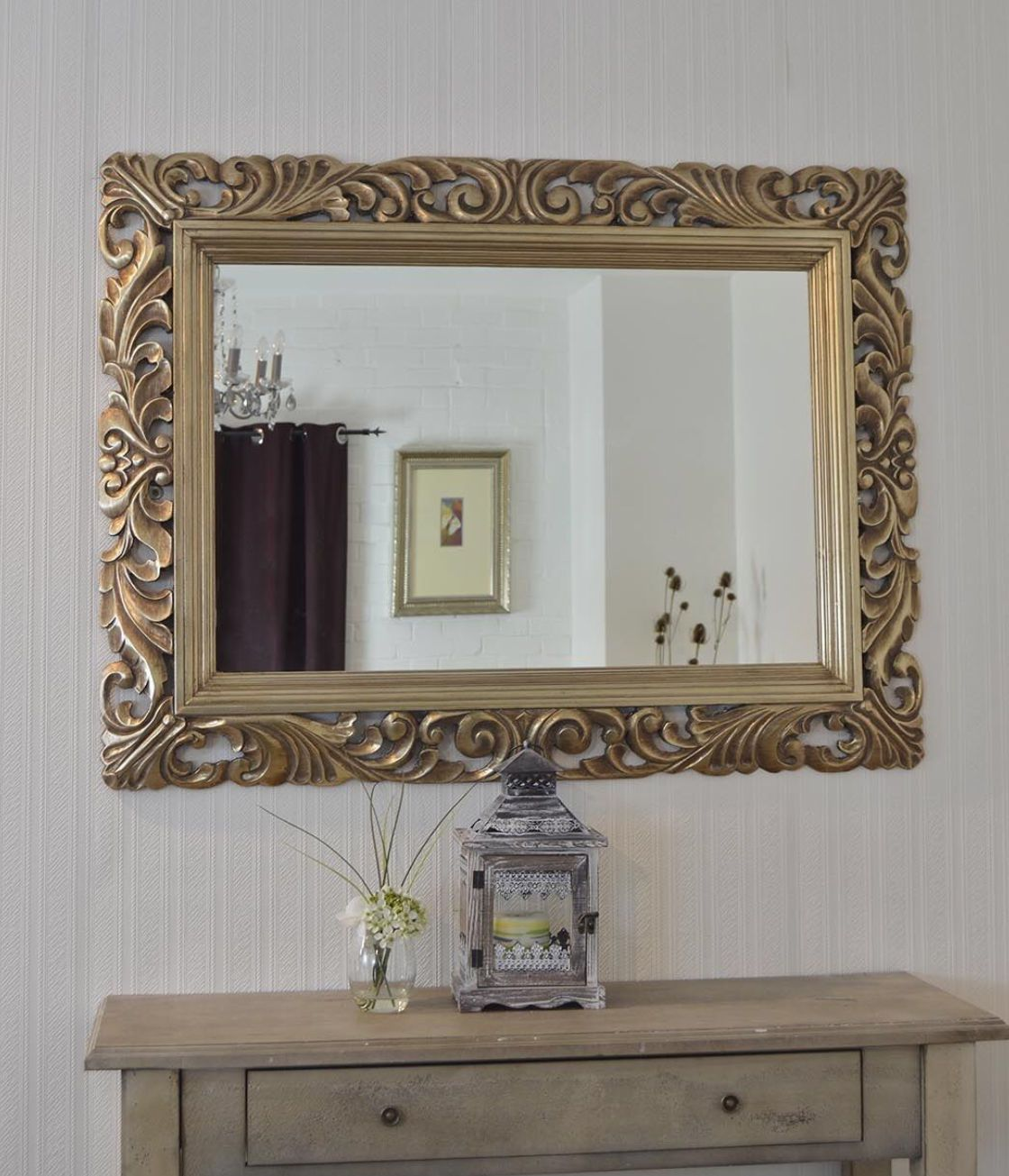 John Lewis Ornate Leaf Wall Mirror 122cm X 91cm Champagne New