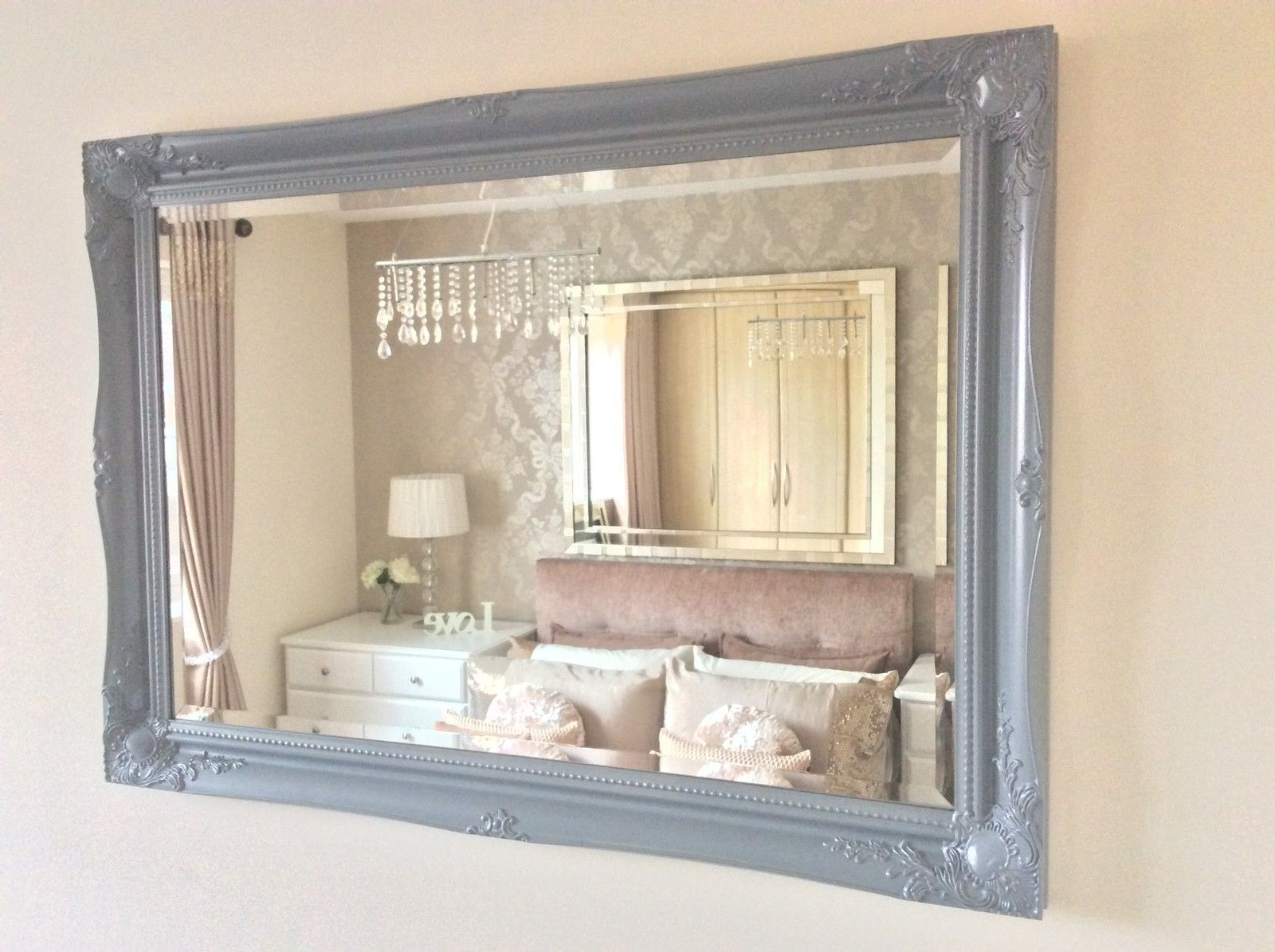 Large Grey Satin Shabby Chic Ornate Decorative Over Mantle Gilt Wall Mirror