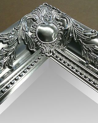 Large Metallic Silver Shabby Chic Ornate Decorative Over Mantle Wall Mirror New